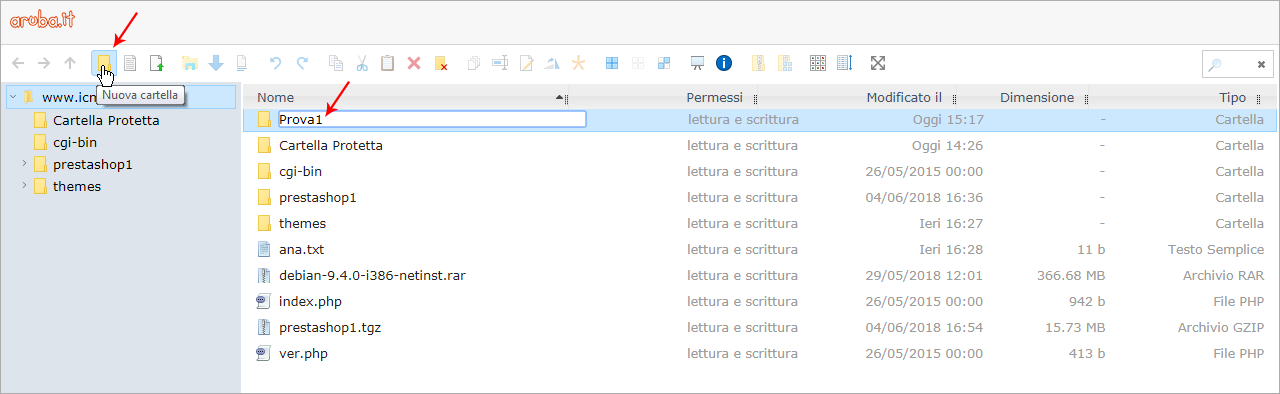 File Manager: how to create a folder and a file | Guide hosting aruba it